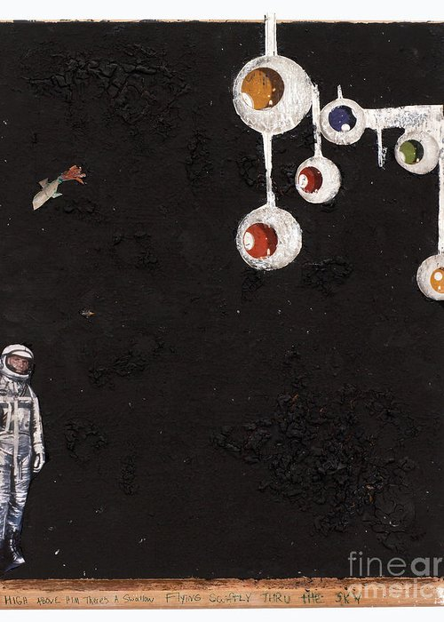 Spaceman Greeting Card featuring the mixed media High Above Him There by Jaime Becker
