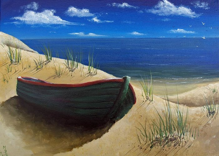 Boat Greeting Card featuring the painting High And Dry by Martin Girolami