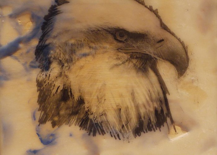 Eagle Greeting Card featuring the painting High And Mighty by Heather Hennick