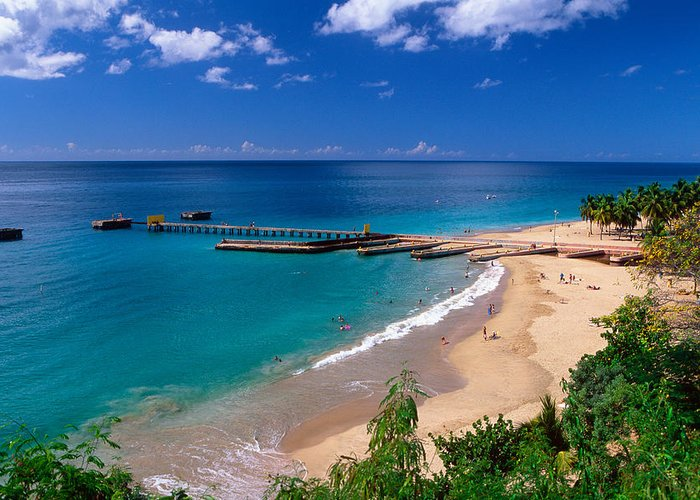 High Angle View Of A Pier On Crashboat Beach Puerto Rico