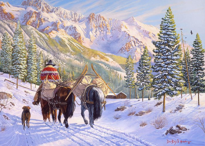 Horses Greeting Card featuring the painting High Country by Howard Dubois