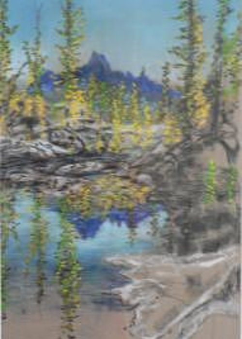 Lake Reflection Greeting Card featuring the painting High Country Lake by Dan Bozich