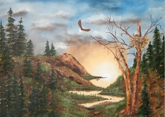 Greeting Card featuring the painting High Country by Larry Doyle