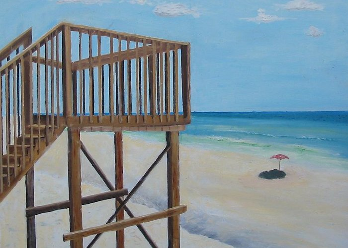 Seascape Greeting Card featuring the painting High Deck At Blue Mountain Beach by John Terry