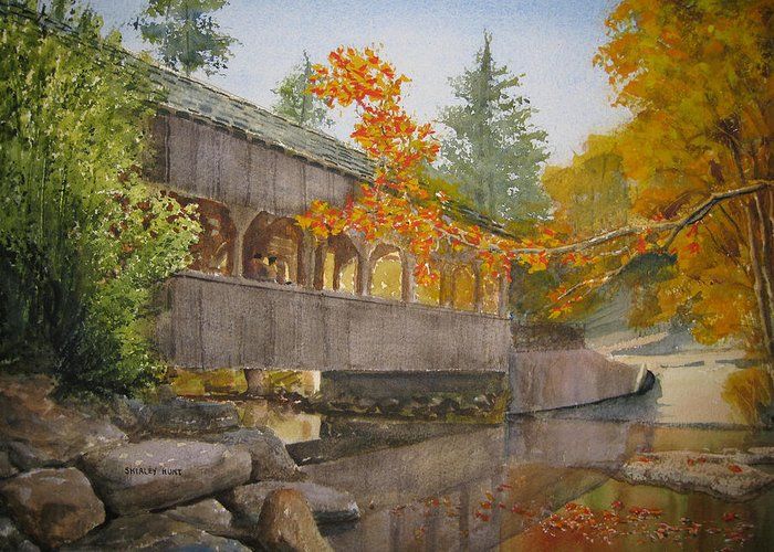 High Falls Greeting Card featuring the painting High Falls Bridge by Shirley Braithwaite Hunt