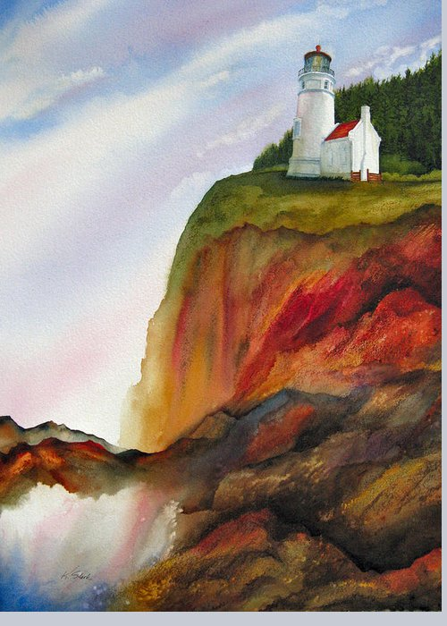 Coastal Greeting Card featuring the painting High Ground by Karen Stark