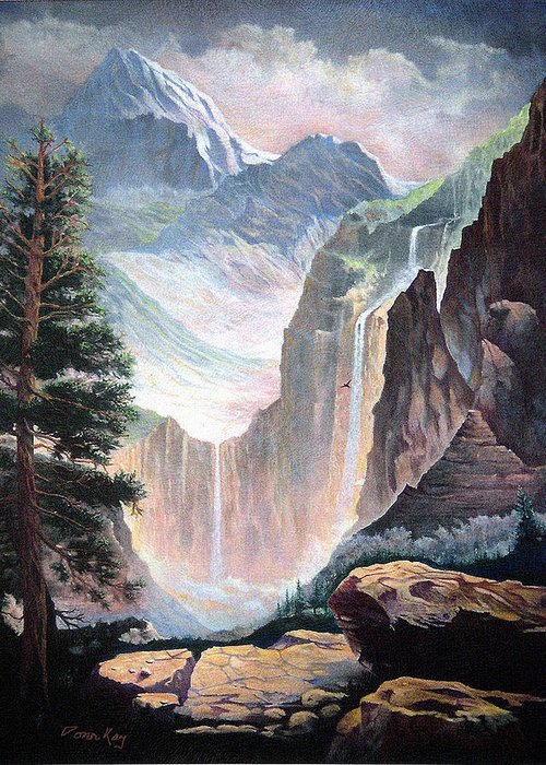 Colorado Rockies Waterfalls Rocks Southwest Landscapes Giclee Prints Greeting Card featuring the painting High In The Rocky Mountains by Donn Kay