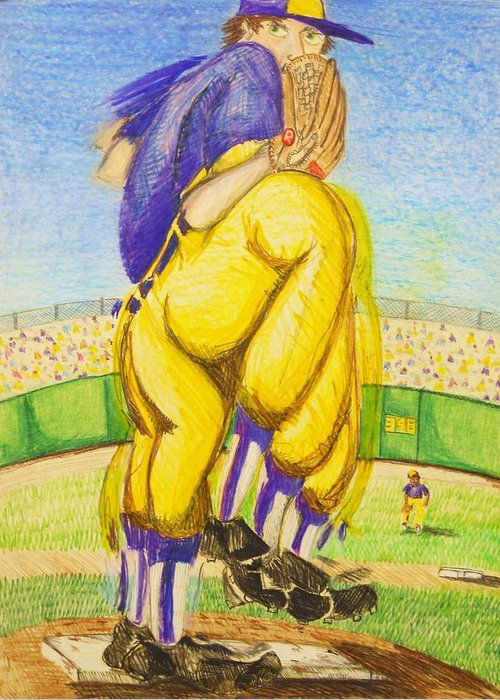 Baseball Greeting Card featuring the drawing High Leg Kick by Jame Hayes