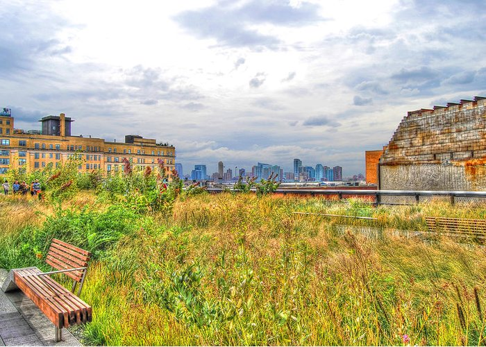 High Line Park Greeting Card featuring the photograph High Line On The Hudson by Randy Aveille