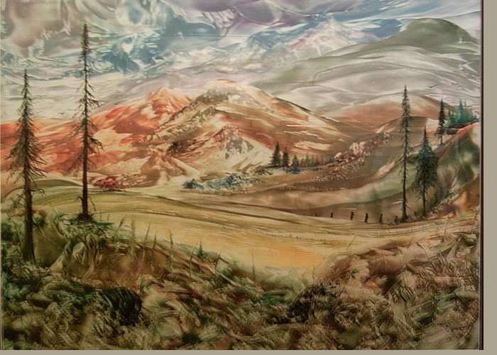 Landscape Greeting Card featuring the painting High Meadowland by John Vandebrooke