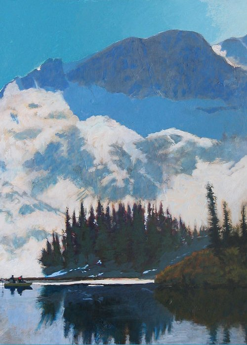 Lake Greeting Card featuring the painting High Mountain Lake by Robert Bissett