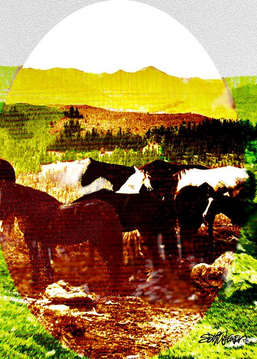 Mustangs Greeting Card featuring the digital art High Plains Horses by Seth Weaver