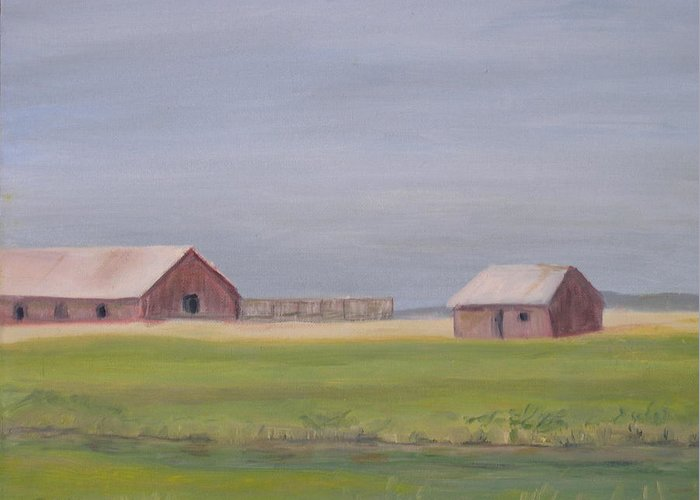 Landscape Plains Barn Greeting Card featuring the painting High Plains by Patricia Caldwell