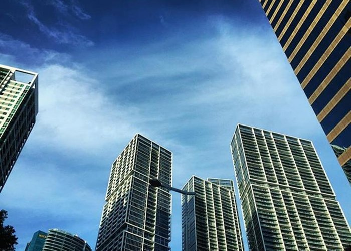 Building Greeting Card featuring the photograph High Rise Buildings On Brickell, Miami by Juan Silva