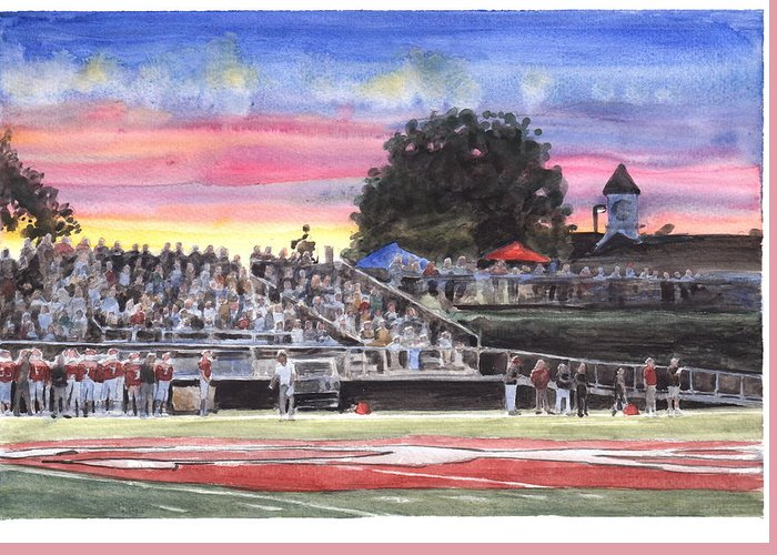 <a Href=http://miketheuer.com Target =_blank>www.miketheuer.com</a> High School Football Coach And Field Watercolor Portrait Greeting Card featuring the drawing High School Football Coach And Field Watercolor Portrait by Mike Theuer
