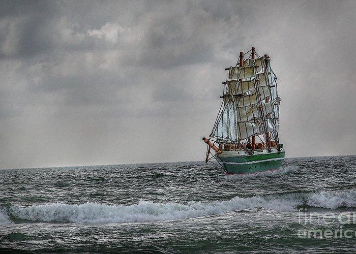 Ship Greeting Card featuring the digital art High Seas Sailing Ship by Randy Steele