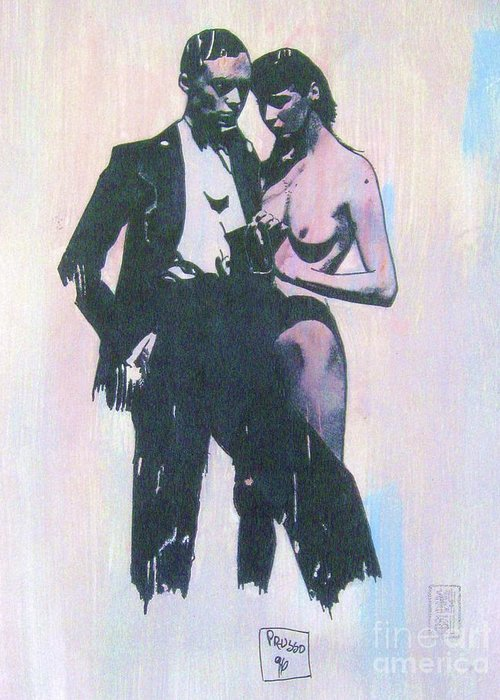 Figurative Greeting Card featuring the painting High Society by Roberto Prusso
