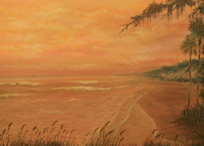 Beach; Ocean; Palm Trees; Water Greeting Card featuring the painting High Tide by Ben Kiger