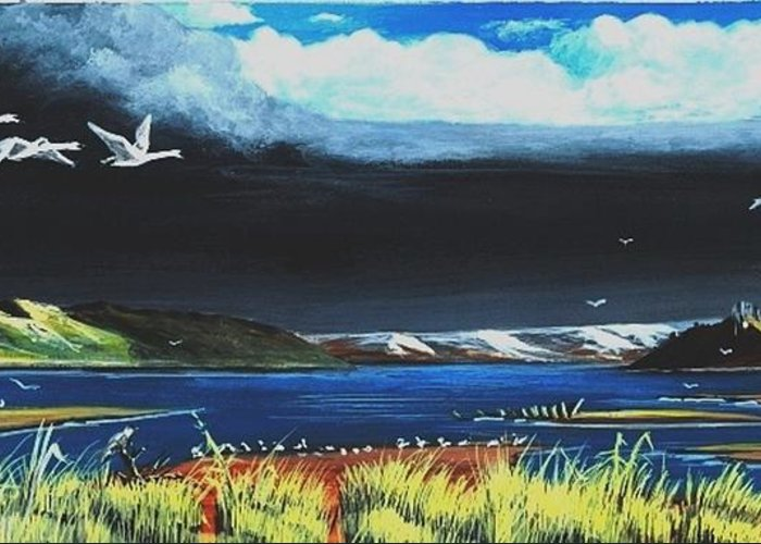 Swans Greeting Card featuring the painting High Tide Swans by Bob Patterson
