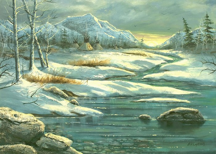Landscape Greeting Card featuring the painting High Winter Camp by Brooke Lyman