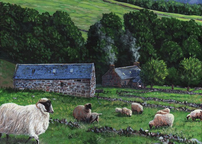 Tim Greeting Card featuring the painting Highland Croft by Timithy L Gordon