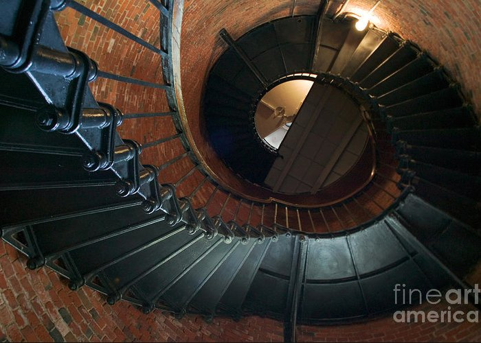 Highland Lighthouse Greeting Card featuring the photograph Highland Lighthouse Stairs Cape Cod by Matt Suess