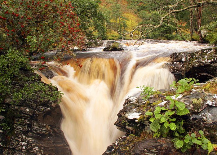 Scotland Greeting Card featuring the photograph Highland Waterfall Dundonnell River by John McKinlay