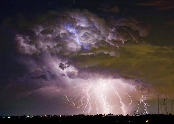 Colorado Lightning Greeting Card featuring the photograph Highway 52 Storm Cell - Two And Half Minutes Lightning Strikes by James BO Insogna