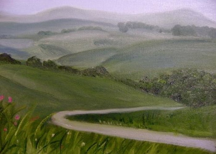 Pathway Greeting Card featuring the painting Highway into the Hills by Toni Berry