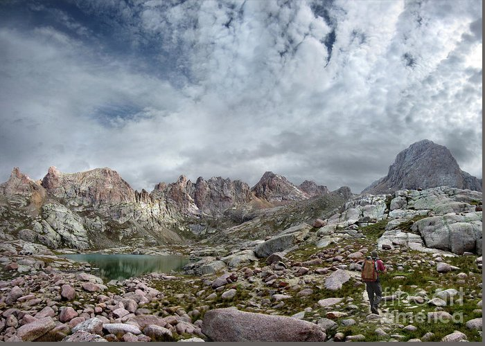 Colorado Greeting Card featuring the photograph Hiker At Twin Lakes - Chicago Basin - Weminuche Wilderness - Colorado by Bruce Lemons