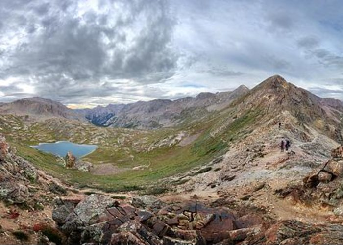 Colorado Greeting Card featuring the photograph Hikers On Columbine Pass - Weminuche Wilderness - Colorado by Bruce Lemons