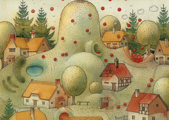 Hill Landscape House Home Apple Giant Autumn Greeting Card featuring the painting Hill by Kestutis Kasparavicius