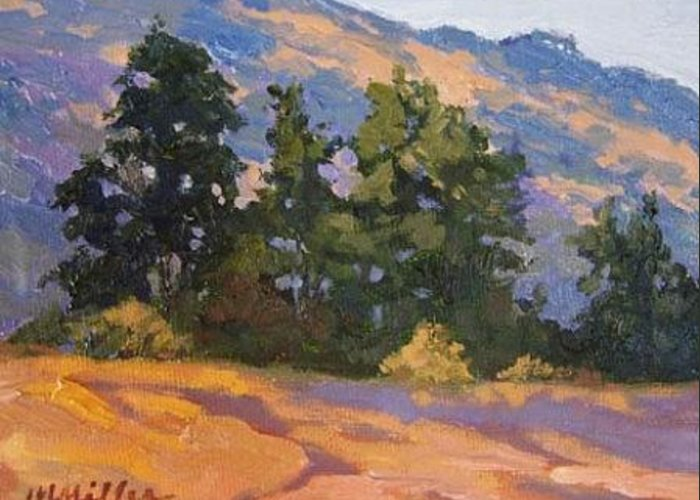 Landscape Greeting Card featuring the painting Hills by Maralyn Miller