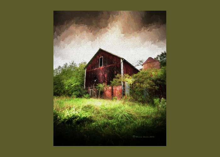 Red Roofed Barn Mixed Media Greeting Cards