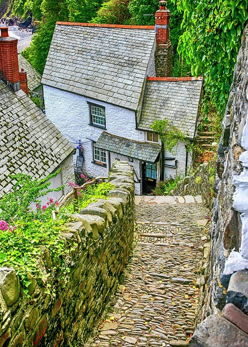 Whitewashed; White; Painted; Houses; Cobble; Stone Road; Hillside; Fishermen�s; Cottages; Clovelly; North; Devon; Buildings; Steep; Hill; Architecture; Historical; Place; Fishing; Village; Landmark; Summer; Tourist; Trade; Travel; Tourism; Popular; Location; Quaint; Picturesque; Old; Historic; English; England; Gb; Uk Greeting Card featuring the photograph Hillside Cottages In Clovelly, Devon, Uk by Chris Smith
