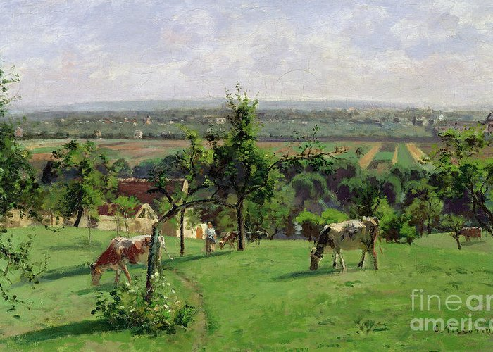 Camille Pissarro Greeting Card featuring the painting Hillside Of Vesinet by Camille Pissarro