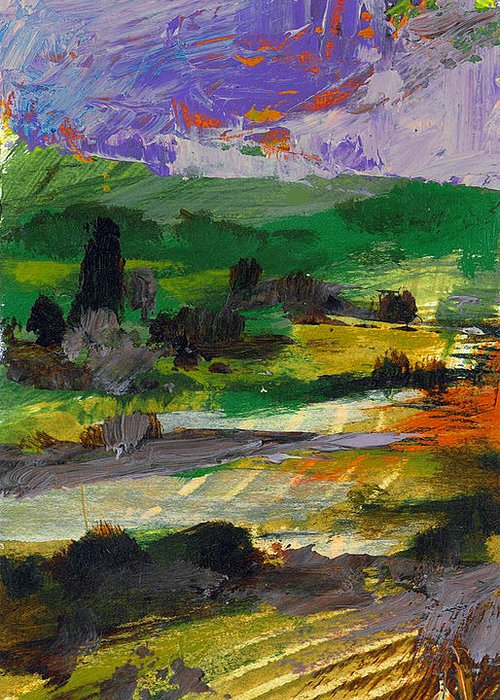 Landscape Greeting Card featuring the painting Hillside Pastures by Dale Witherow