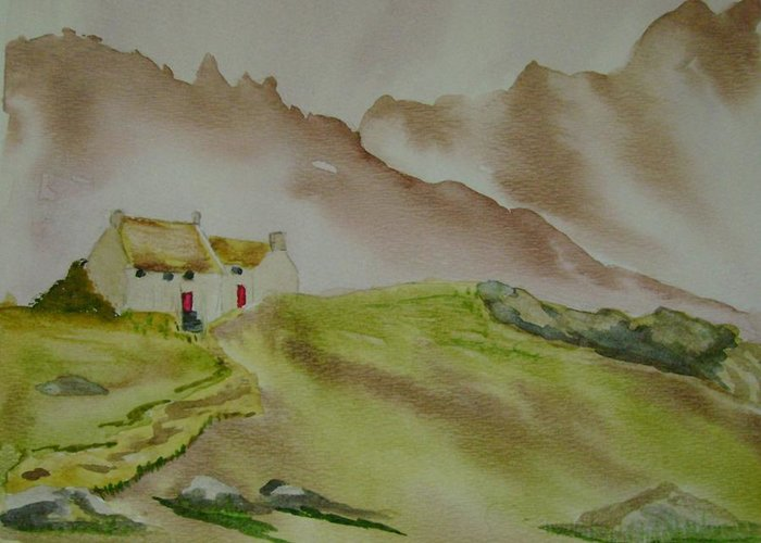 Mountains Greeting Card featuring the painting Hillside Retreat by Dottie Briggs