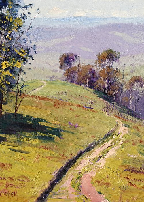Rural Greeting Card featuring the painting Hilly Landscape Lithgow by Graham Gercken
