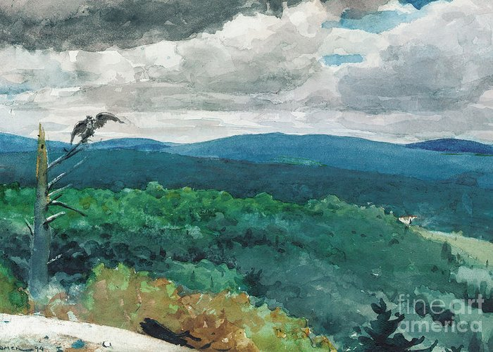 Hilly Landscape Greeting Card featuring the painting Hilly Landscape by Winslow Homer