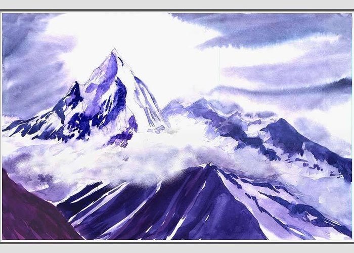 Landscape Greeting Card featuring the painting Himalaya by Anil Nene
