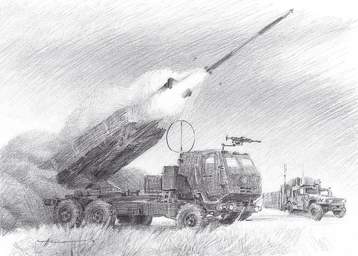 Www.miketheuer.com Himars Pencil Portrait Greeting Card featuring the drawing HIMARS pencil portrait by Mike Theuer