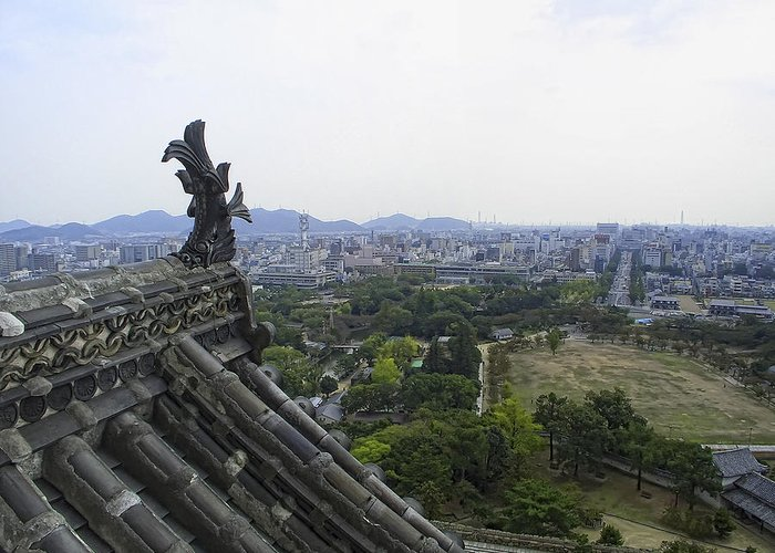 Himeji Greeting Card featuring the photograph Himeji City From Shogun's Castle by Daniel Hagerman