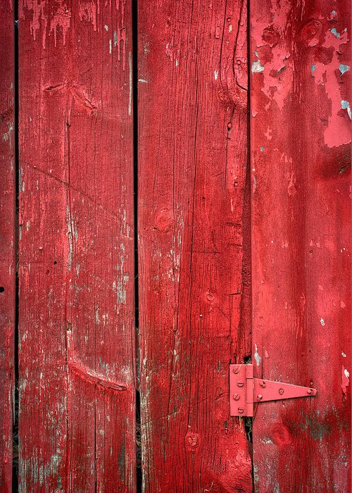 Red Greeting Card featuring the photograph Hinge On A Red Barn by Steve Gadomski