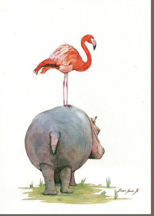 Hippo Art Greeting Card featuring the painting Hippo With Flamingo by Juan Bosco