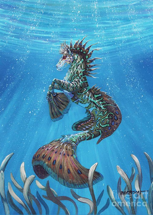 Seahorse Greeting Card featuring the painting Hippocampus by Stanley Morrison