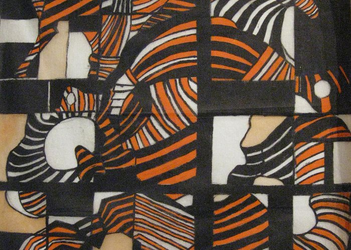 Orange Greeting Card featuring the tapestry - textile Hips by Diana Tatucu