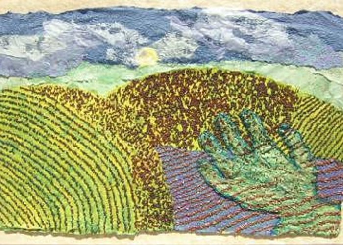 Prairie Scene Created From Grains And Hand Made Papers On Paper Greeting Card featuring the painting Hired Hand by Naomi Gerrard