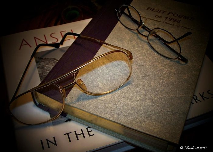 Eyeglasses Greeting Card featuring the photograph His And Hers - A Still Life by Betty Northcutt