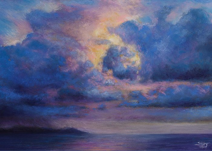 Landscape Greeting Card featuring the pastel His Glory by Susan Jenkins
